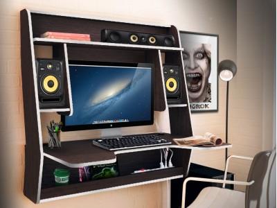 Геймерский навесной стол ZEUS IGROK-MAX венге+белый