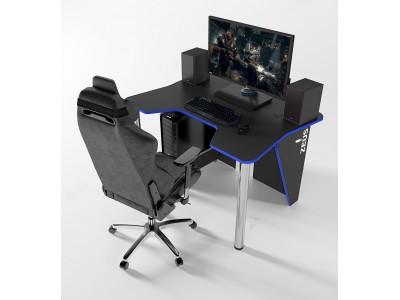 Геймерский игровой стол ZEUS IGROK-3 черный+синий