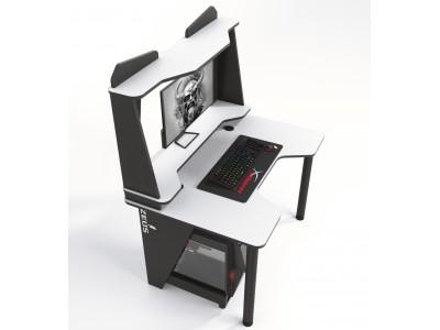 Геймерский игровой стол ZEUS IVAR-2 черный+белый