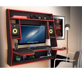 Геймерский навесной стол ZEUS IGROK-MAX венге+красный