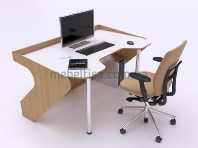 Геймерский игровой стол ZEUS Geroy дуб сонома+белый