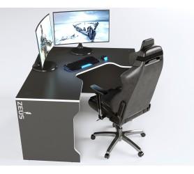 Геймерский игровой стол ZEUS TRON-2 черный+белый