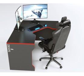 Геймерский игровой стол ZEUS TRON-2 черный+красный