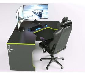 Геймерский игровой стол ZEUS TRON-2 черный+зеленый