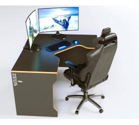 Геймерский игровой стол ZEUS TRON-2 черный+оранж