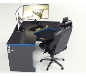 Геймерский игровой стол ZEUS TRON-2 черный+синий