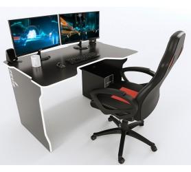Геймерский игровой стол ZEUS TRON черный+белый