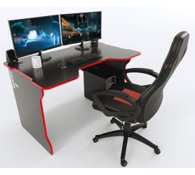 Геймерский игровой стол ZEUS TRON черный+красный