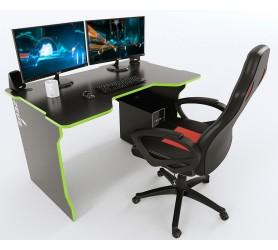 Геймерский игровой стол ZEUS TRON черный+зеленый