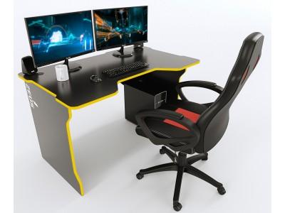 Геймерский игровой стол ZEUS TRON черный+желтый