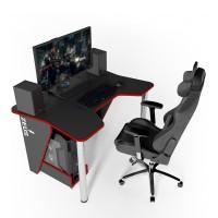 Геймерский игровой стол ZEUS IGROK-3 черный+красный