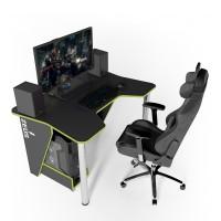 Геймерский игровой стол ZEUS IGROK-3 черный+зеленый