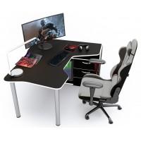 Геймерский игровой стол ZEUS IGROK-TOR черный+белый