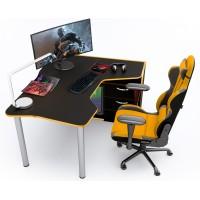 Геймерский игровой стол ZEUS IGROK-TOR черный+оранж