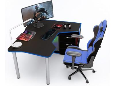 Геймерский игровой стол ZEUS IGROK-TOR черный+синий