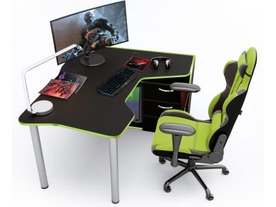 Геймерский игровой стол ZEUS IGROK-TOR черный+зеленый